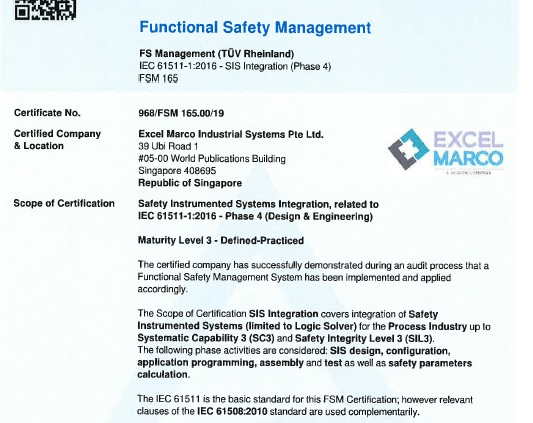 Excel Marco demonstrates commitment to state-of-the-art performance in Functional Safety Management System